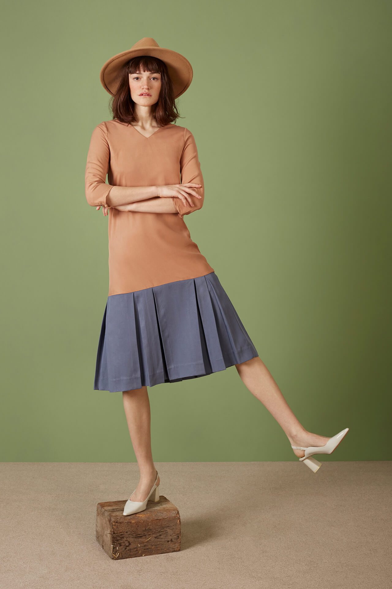 maria dress pigeon blue and copper tan